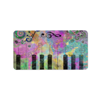 Cool watercolours splatters colourful piano address label