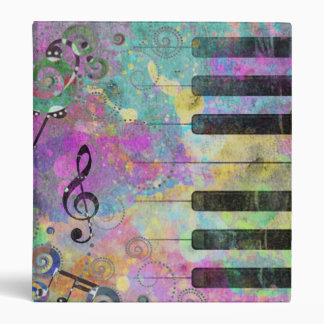 Cool watercolours splatters colourful piano binder