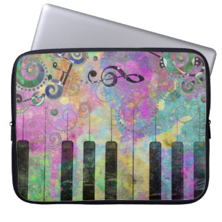 Cool watercolours splatters colourful piano computer sleeve
