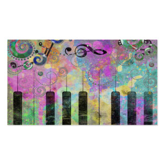 Cool watercolours splatters colourful piano Double-Sided standard business cards (Pack of 100)