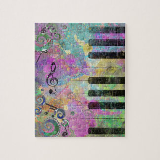 Cool watercolours splatters colourful piano jigsaw puzzle