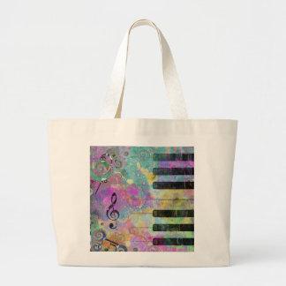 Cool watercolours splatters colourful piano jumbo tote bag