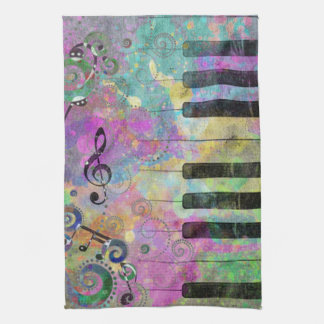 Cool watercolours splatters colourful piano kitchen towel