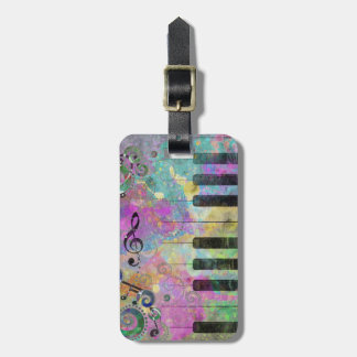 Cool watercolours splatters colourful piano travel bag tags
