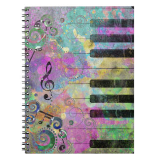 Cool watercolours splatters colourful piano note books