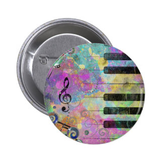Cool watercolours splatters colourful piano pin
