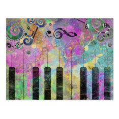 Cool Watercolours Splatters Colourful Piano Postcard at Zazzle