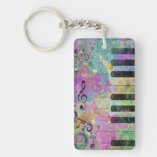 Cool watercolours splatters colourful piano Single-Sided rectangular acrylic keychain