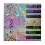 Cool watercolours splatters colourful piano small square tile