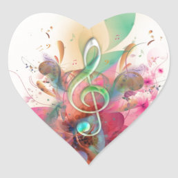 Cool watercolours treble clef music notes swirls heart sticker