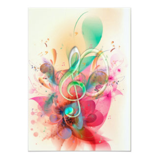 Cool watercolours treble clef music notes swirls personalized announcement