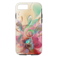 Cool watercolours treble clef music notes swirls iPhone 7 case