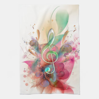 Cool watercolours treble clef music notes swirls kitchen towel