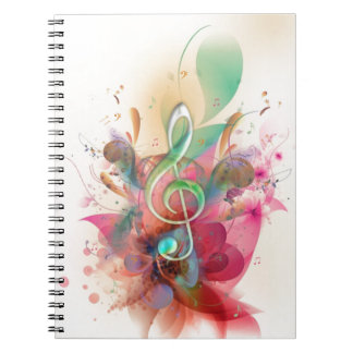 Cool watercolours treble clef music notes swirls notebook