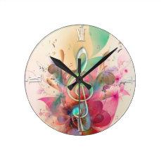 Cool watercolours treble clef music notes swirls round clock