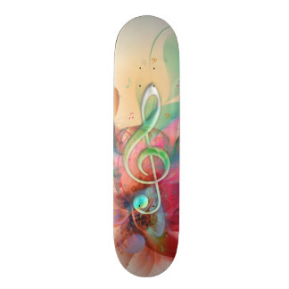 Cool watercolours treble clef music notes swirls skateboard deck