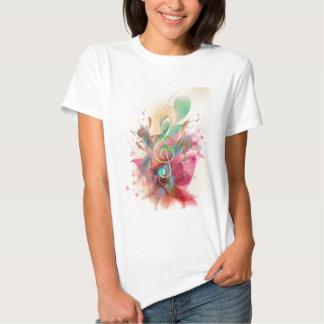Cool watercolours treble clef music notes swirls t-shirt
