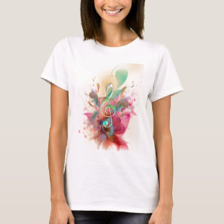 Cool watercolours treble clef music notes swirls T-Shirt