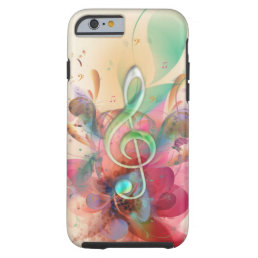 Cool watercolours treble clef music notes swirls tough iPhone 6 case