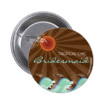 Cool Waves & Brown Sun Name Tag Wedding Button