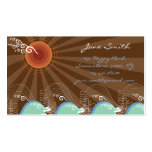 Cool Waves Tropical Summer Sun Brown Stripes Beach Double-Sided Standard Business Cards (Pack Of 100)