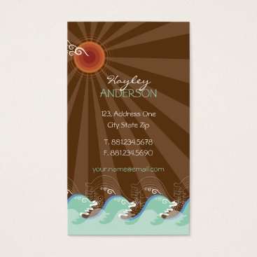 Beach Themed Cool Waves Tropical Summer Sun Brown Stripes Beach Business Card