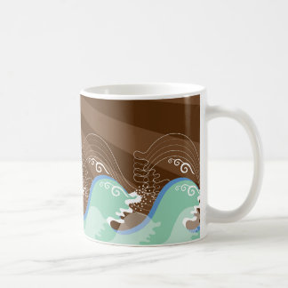 Cool Waves Tropical Summer Sun Brown Stripes Beach Classic White Coffee Mug