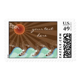 Cool Waves Tropical Summer Sun Brown Stripes Beach Stamp