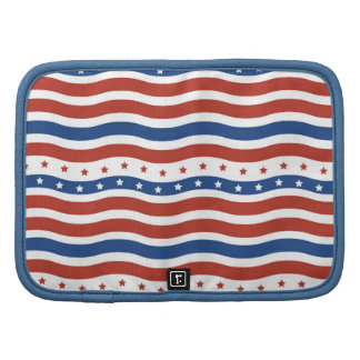Cool Wavy Fourth of July Red White Blue American Organizers