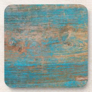Cool Weathered Blue Peeling Paint Wood Texture Drink Coaster