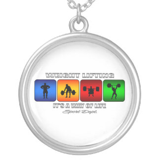 Cool Weight Lifting It Is A Way Of Life Silver Plated Necklace