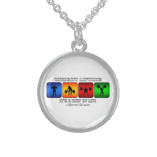 Cool Weight Lifting It Is A Way Of Life Sterling Silver Necklace