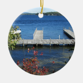 Cool Weirs Beach Dock Double-Sided Ceramic Round Christmas Ornament