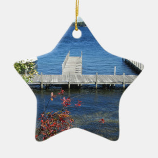 Cool Weirs Beach Dock Double-Sided Star Ceramic Christmas Ornament