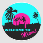 Cool Welcome to Miami design Classic Round Sticker