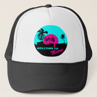 Cool Welcome to Miami design Trucker Hat