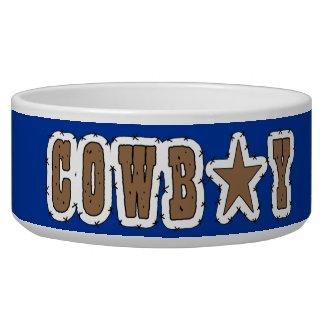 Cool Western Cowboy Herding Dogs Dog Food Bowls