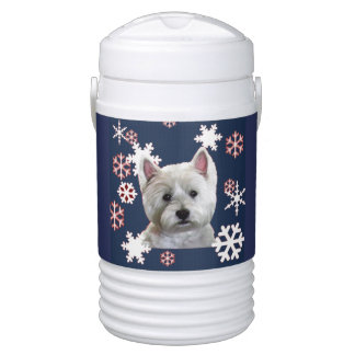 COOL WESTIE WITH SNOWFLAKES COOLER