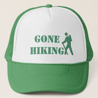 cool white and green  gone hiking sports hat. trucker hat