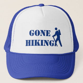 cool white and royal blue  gone hiking sports hat. trucker hat