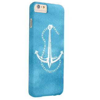 Cool White Blue Anchor Nautical Barely There iPhone 6 Plus Case