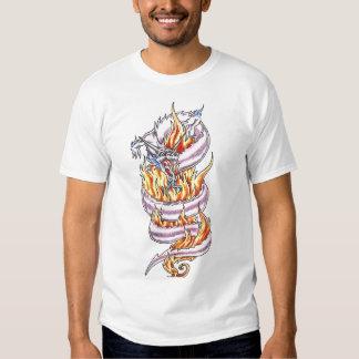 Cool  White Dragon and flames   tattoo shirt