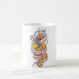 Cool  White Dragon and flames   tattoo style mug