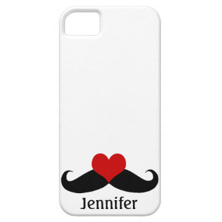 Cool White I love Mustaches with Name iPhone Case