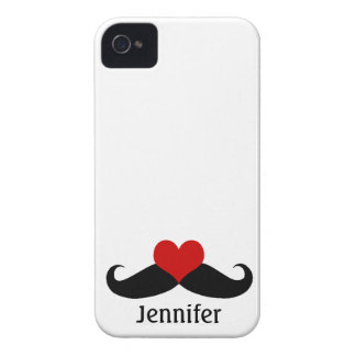 Cool White I love Mustaches with Name iPhone Case Case-Mate iPhone 4 Case