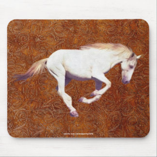Cool White Mustang Horse & 2-D Faux Tooled-leather Mouse Pad