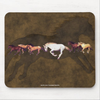 Cool White Mustang Horse Herd & 2-D Faux leather Mouse Pad