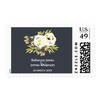 COOL WHITE & YELLOW FLORAL Postage Stamp