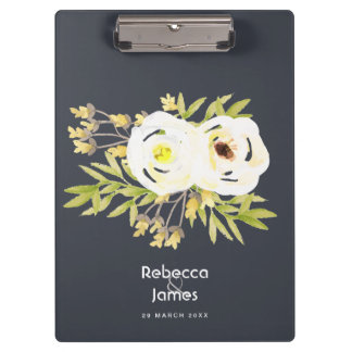 COOL WHITE & YELLOW WATERCOLOR FLORAL MONOGRAM CLIPBOARD