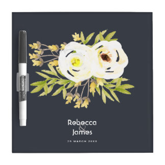COOL WHITE & YELLOW WATERCOLOR FLORAL MONOGRAM DRY ERASE BOARD